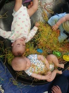 sensory play in spaghetti