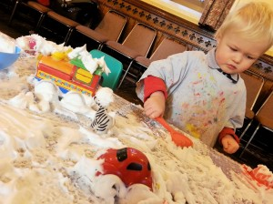 Shaving foam sensory play