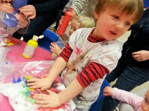 sensory bag activity, toddler art class