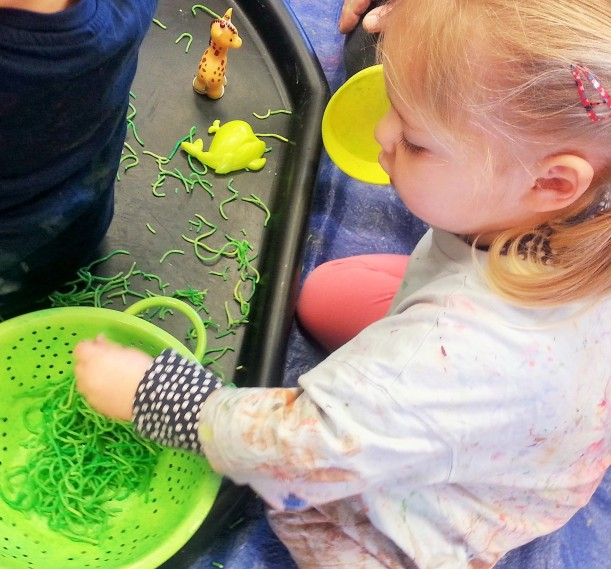 sensory play with spaghetti