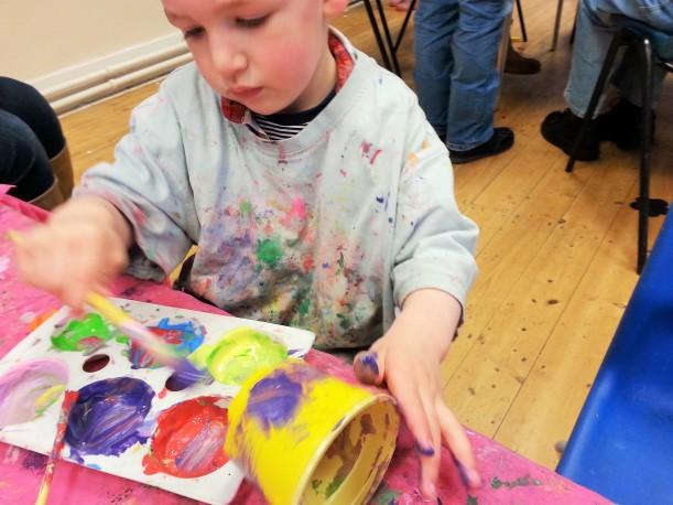 toddler painted plantpot